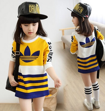 2015 spring and summer children clothing stripe girl basic shirt long-sleeve casual cotton kids sports short dress,4-12Y(China (Mainland))