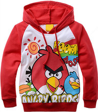 Children's clothing day single red angry cartoon bird printed cotton terry hooded long sleeve(China (Mainland))