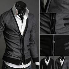 L'arrivée de nouveaux hommes occasionnels haut de gamme élégant Slim Fit v - neck Sweater hauts Cardigan bouton livraison gratuite(China (Mainland))