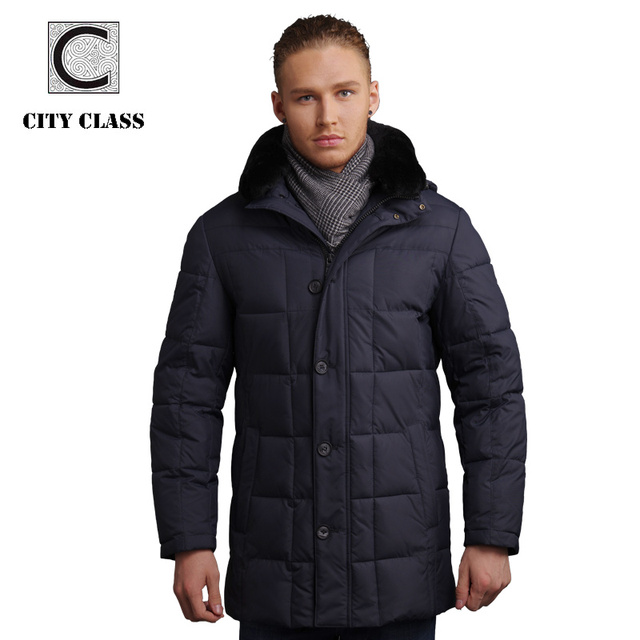 CITY CLASS Men Модный Jackets And Coats Повседневный Down Feather Removable Rabbit ...