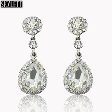 Fine Jewelry Line Eardrop Pendientes Royal white Sapphire Crystal platinum Rhinestone Earrings For Women Wedding Bridal Jewelry(China (Mainland))