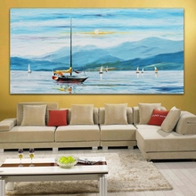 100% Hand painted Sailing Yacht Color Palette Oil Painting Blue Canvas Wall Art Picture for Office Home Decor(Hong Kong)