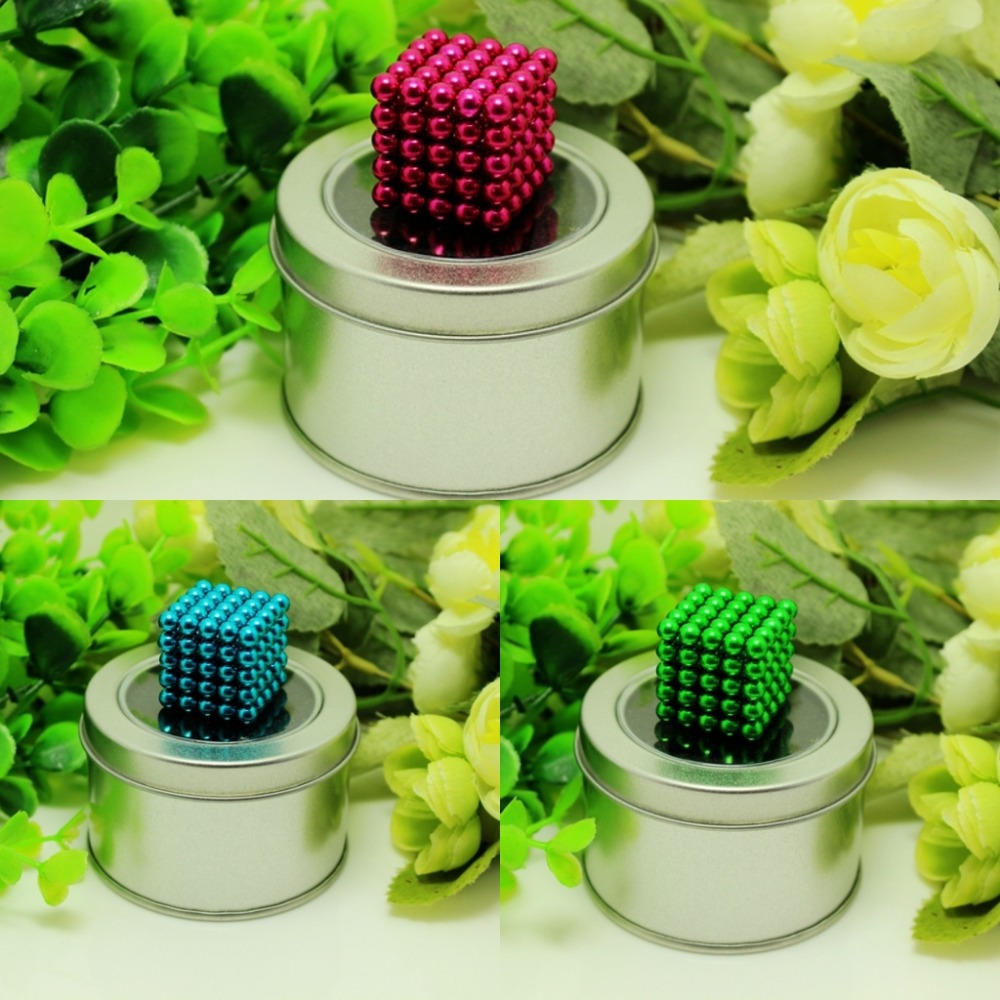 125pcs 5mm neodymium magnetic balls spheres beads magic cube magnets puzzle birthday present for children - with metal box.(China (Mainland))