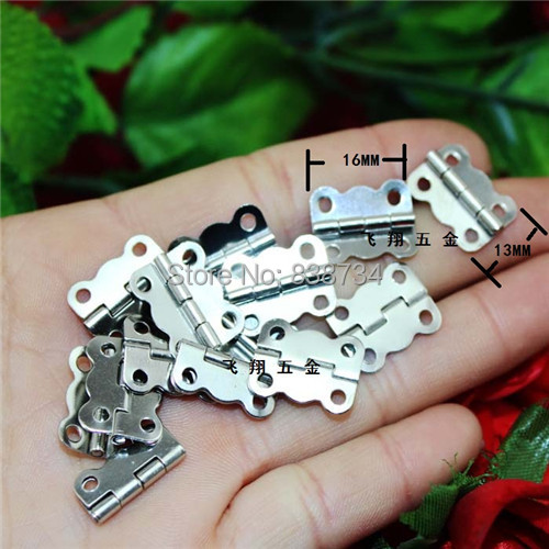 100pcs 16*13*0.4mm high quality steel with nickel plated wooden package jewelry box door hinge(China (Mainland))