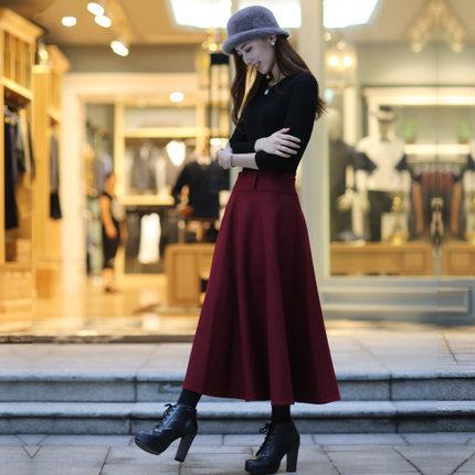 Autumn winter woolen skirts ladies plus size thick warm winter women skirt fashion casual long women winter skirts DM647Одежда и ак�е��уары<br><br><br>Aliexpress