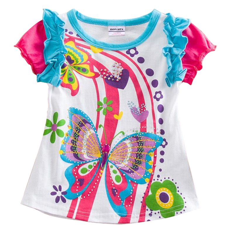 one pcs retail nova kids clothes kids clothes short sleeves t shirt for baby girls clothes butterfly lovely t shirts girls wear<br><br>Aliexpress