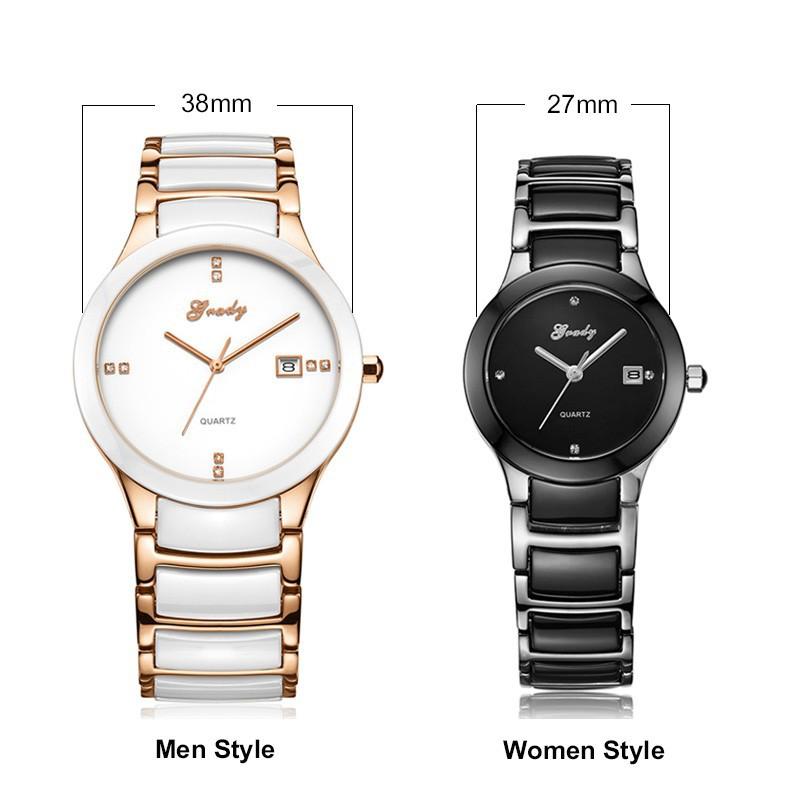 Новый Часы Женщины Моды Роскошные Часы женские Женские Часы Водонепроницаемые Черная Керамика + Стальной Ленты Кварцевые Часы Бесплатная Доставка