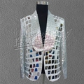 S 5XL 2017 Fashion The new lens costumes male singer star Male bars nightclubs sequins stage