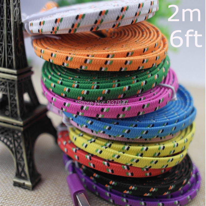 1M/2M/3M High Quality 10 Colors Flat Braided Fabic Woven 8pin USB Data Sync Charger Cable Cords Wire for iPhone 5 5s 6 6Plus(China (Mainland))