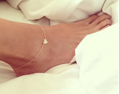 Wholesale Chain Sexy Gold Tone Love Heart Foot jewelry heart anklets for women girl anklet Fashion jewelry(China (Mainland))