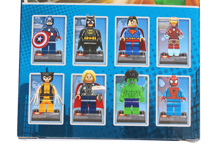 The Avengers 8pcs/lot Tremendous Heroes Iron Man Hulk Batman Wolverine Thor Constructing Blocks Units Minifigure Legoland DIY Bricks Toys
