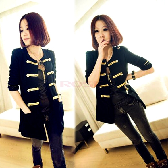 Western Style Gold Button Sweater Coat Ladies Double-Breasted Cardigan Women's Restore Ancient Ways Black Jackets Free Shipping(China (Mainland))