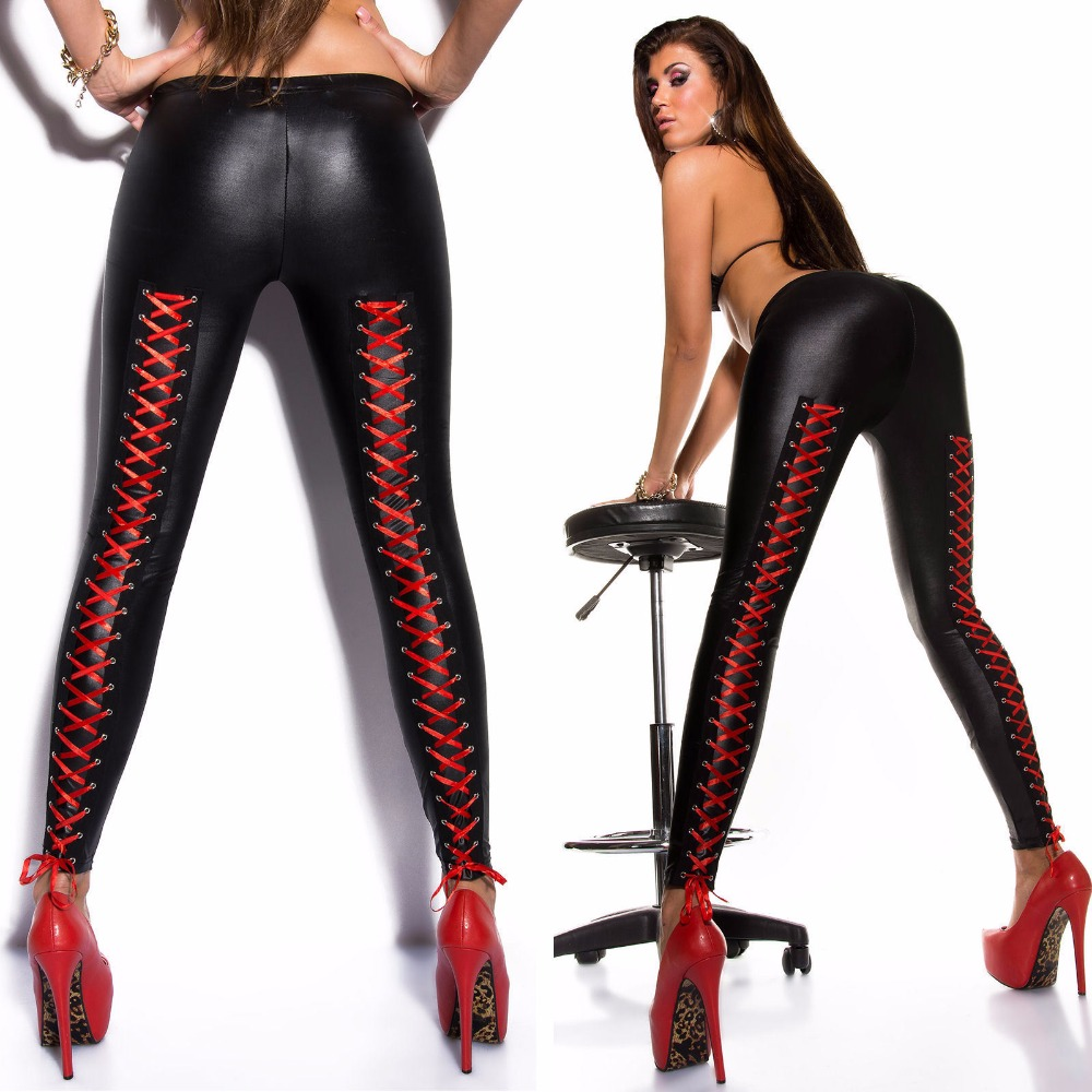 Women's leggings black satin red top club signing of sexy(China (Mainland))