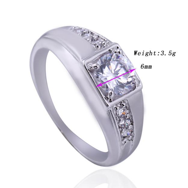Exclusive White gold Plated Rectangle Emerald Cut artificial diamond zircon