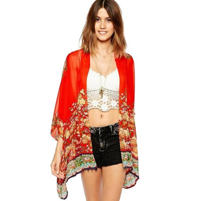Летний стиль мода женщин винтаж цветочный печать красного шифона блузка свободной ...