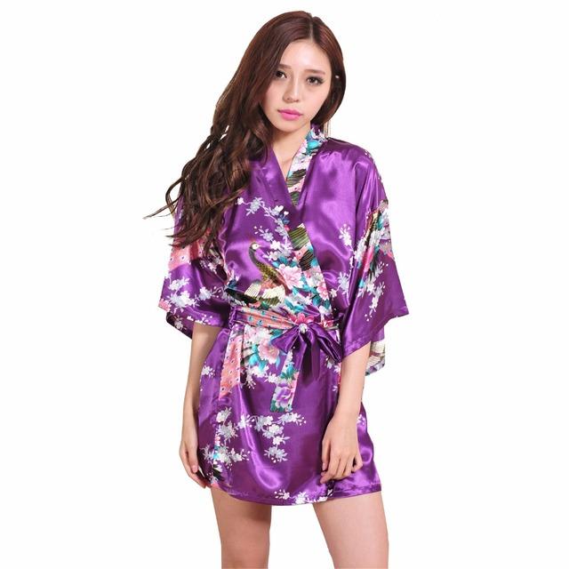 Марка фиолетовый женский печатных цветочные платья кимоно платье в китайском стиле ...