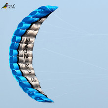 Free Shipping High Quality  2.5m Blue Dual Line Parafoil Kite With Control Bar Power Braid Sailing Kitesurf Rainbow Sports Beach(China (Mainland))
