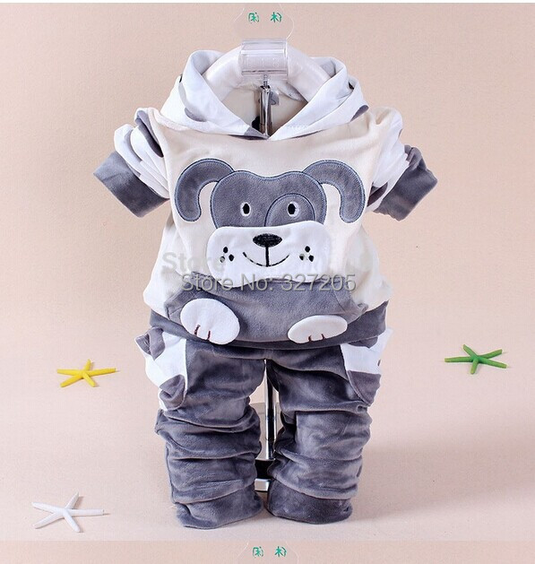 New arrival baby boy clothing set winter fleece sports clothes cow and dog long sleeve cotton boy's girls clothes(China (Mainland))