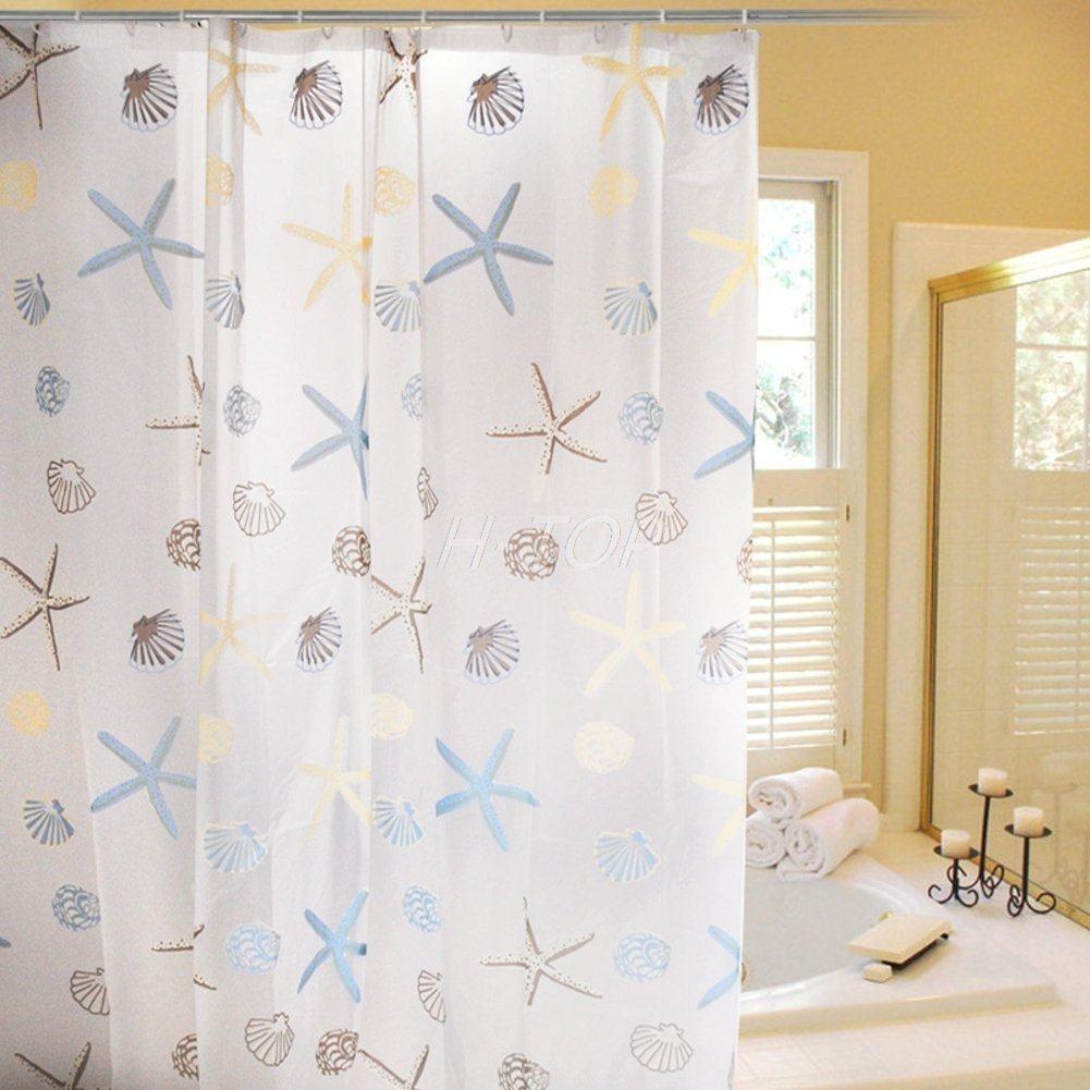 Cortinas De Baño Baratas:Starfish cortina patrón para los niños E6576 de cortinas baratas