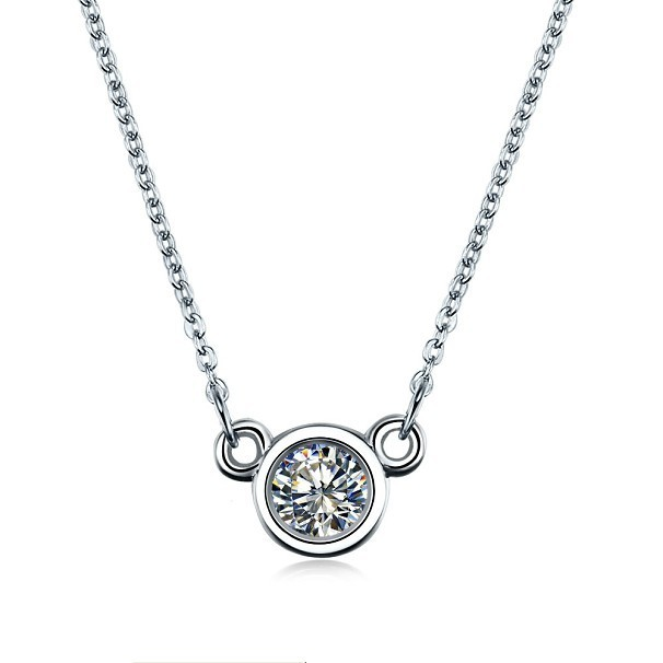 Lovely Style Brand SONA Synthetic Diamond Pendant For Women Free Necklace Pure Silver 18K White Gold Plated Jewelry Pendant 925(China (Mainland))