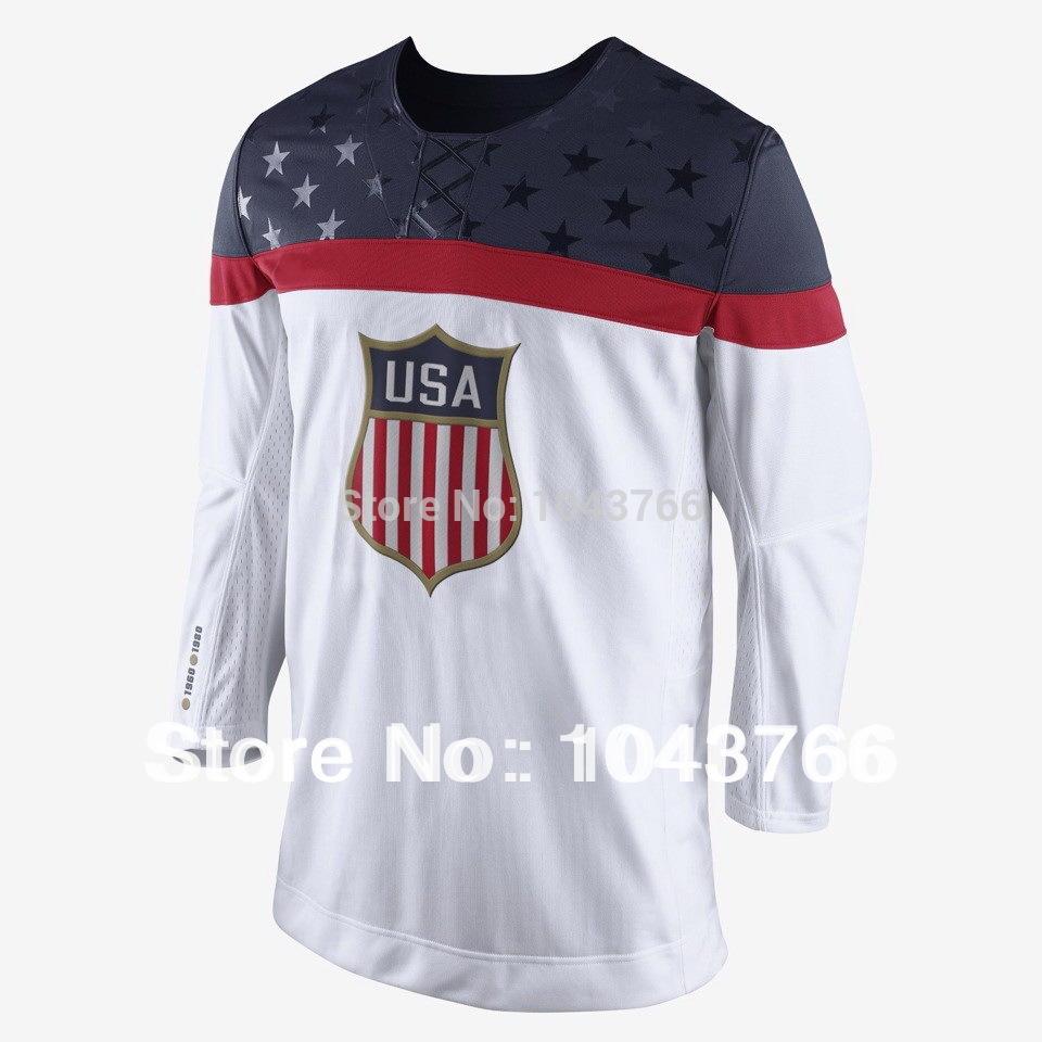Newest 2014 Sochi Olympic Team USA Hockey Jersey White Ice Hockey Stitched American Team USA Olympic Hockey Jersey
