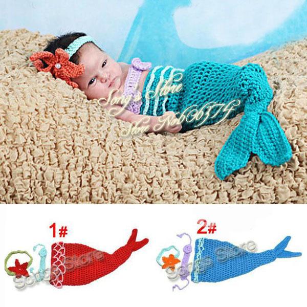 В розницу младенческой хвост русалки корпуса крючком вязаные русалка костюм фотографии реквизит ручной работы звериного стиля SG026