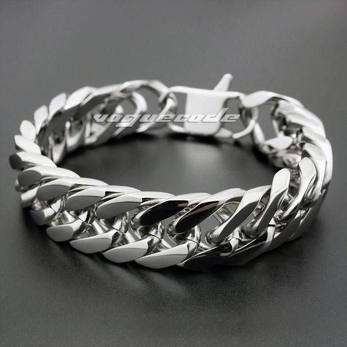 """Shiny Silver Fashion Hard Chain Solid 316L Stainless Steel Cool Men's Biker Huge Bracelet 5R001 -- 7.3""""~11.1""""(China (Mainland))"""