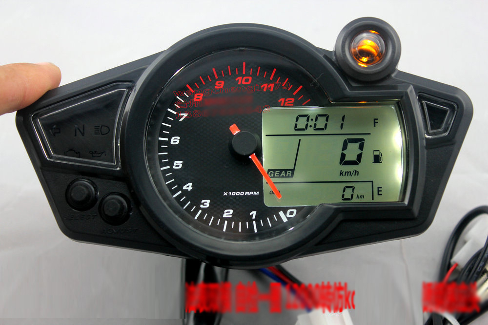 kmh mph lcd digital odometer speedometer 12000rmp tachometer motorcycle motor 1 5 n gear. Black Bedroom Furniture Sets. Home Design Ideas