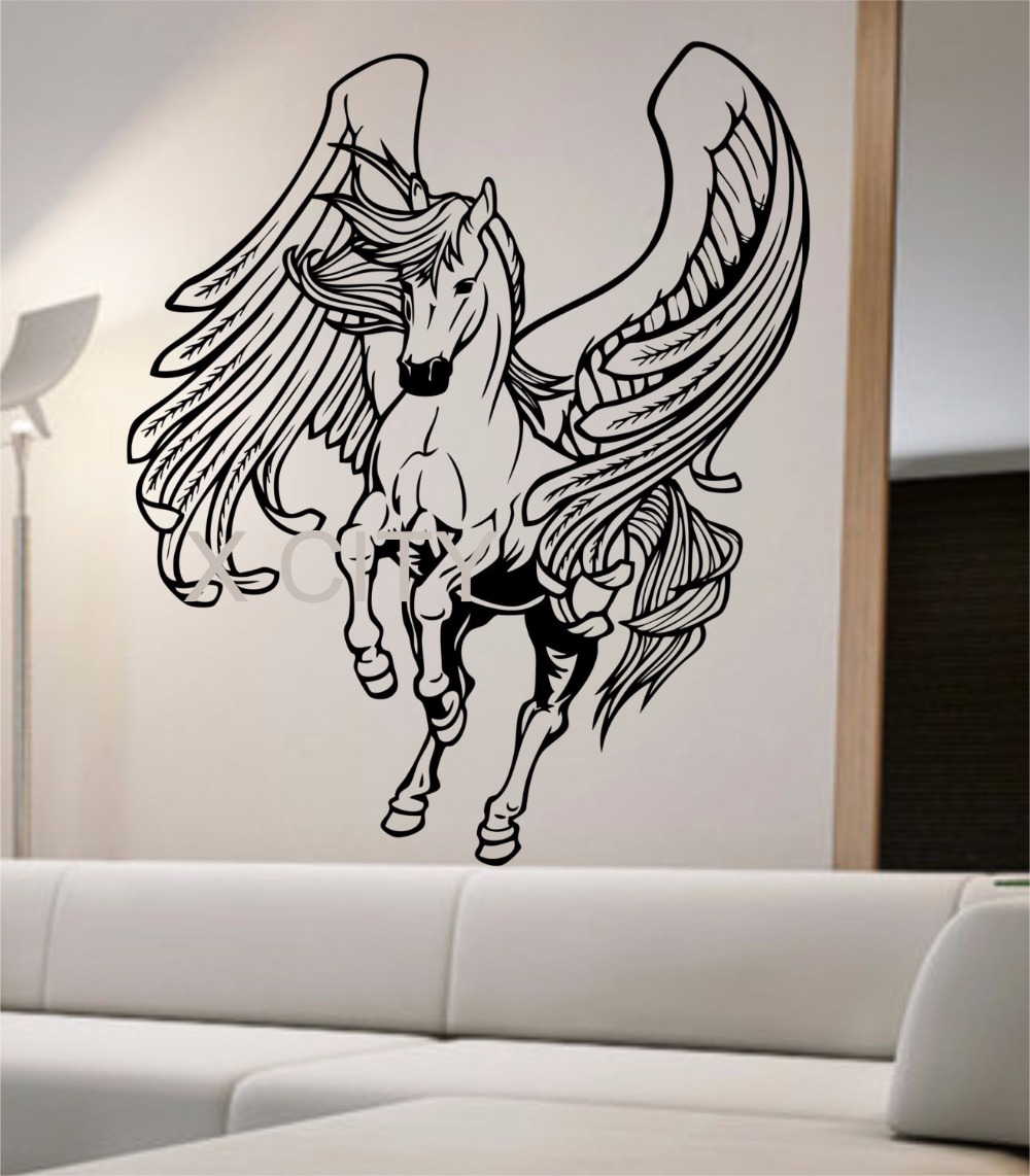 Pegasus Wall Decal Sticker Art Decor Home Bedroom Design Mural horse animals greek mythology 27 in x 23 in(China (Mainland))