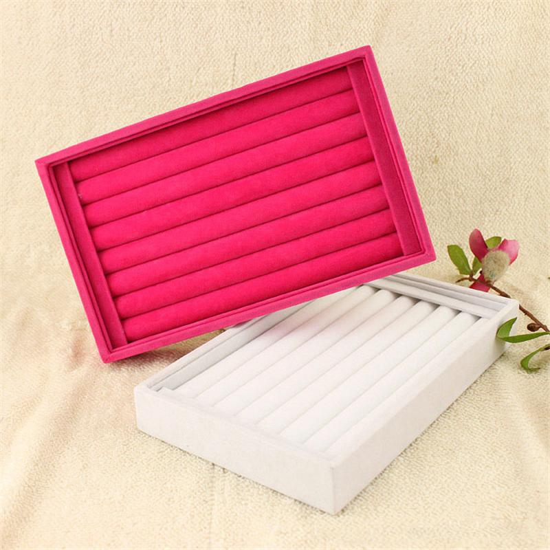 2016 Ring Earring Display Storage Box Case Organizer 23 x 14.5x3 cm Velvet 4 Colors Black Red Rose -Red White To Choose(China (Mainland))