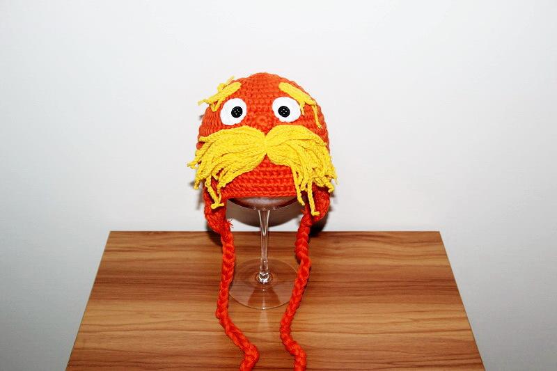 free shipping,100% cotton children's Earflaps Hat,New Handmade Crochet Dr. Seuss The Lorax hat, baby Lorax Hat Animal Hat orange(China (Mainland))