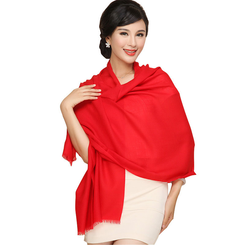 High Quality Women Scarves Natural Wool Scarf Shawls Pure Color Thin Air Conditional Shawl Large Size Winter Pashmina SH041(China (Mainland))