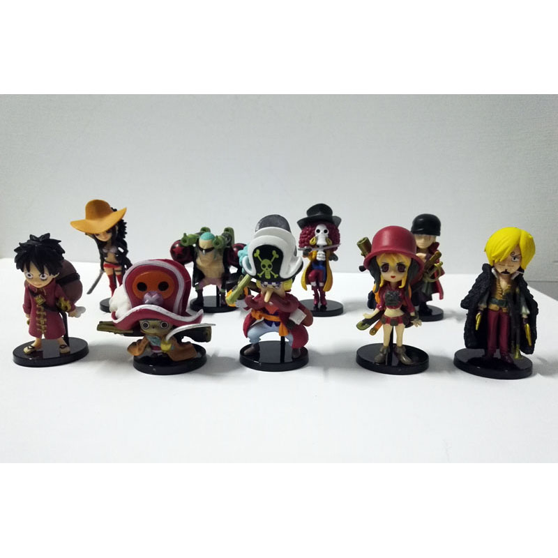 9pcs/set one piece anime figures Ace Luffy Zoro Joe Red section PVC Model Toy Japanese Q Version One Piece 2 YEARS LATER bonecos(China (Mainland))