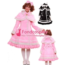 Free Shipping Gothic Lolita Punk Sweet Pink Wool Coat Jacket With Cape Cosplay Costume Tailor-made