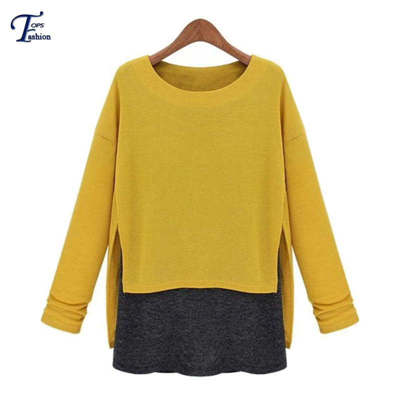 2015 Autmn/Winter Fashion Latest Women's Hot Clothing Casual Yellow Long Sleeve Contrast Asymmetrical Loose Cute T-Shirt(China (Mainland))