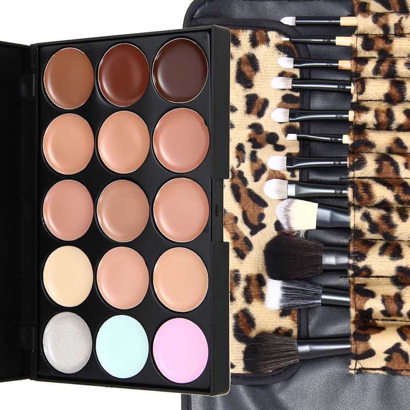2016 New 15 Colors Contour Face Cream Makeup Concealer Palette 12pcs Leopard Brush free shpping