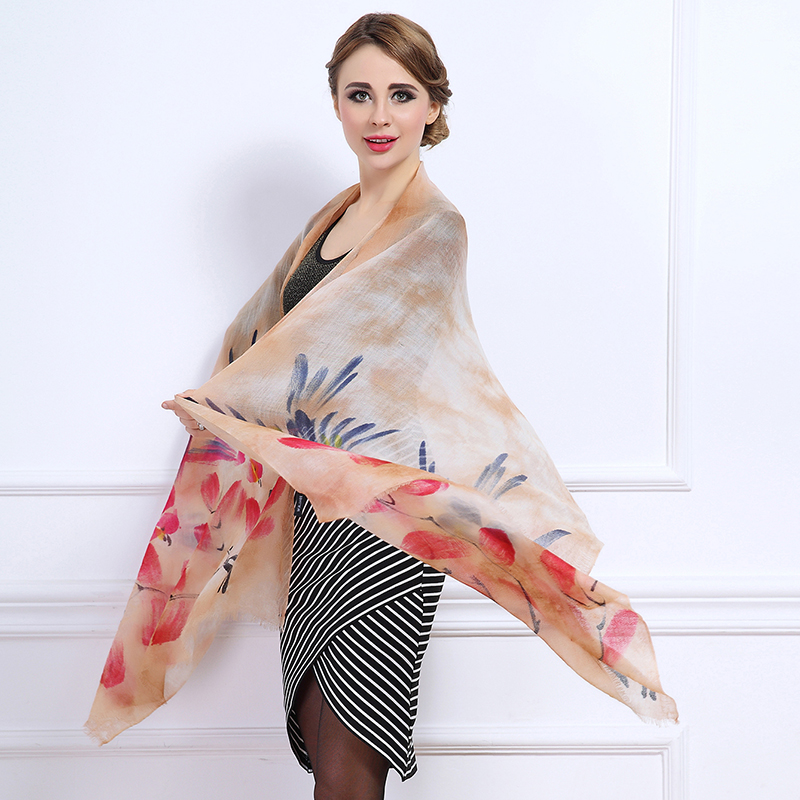 2015 New Autumn Winter Women Hand Painted Pure Cashmere Shawl Warm Light Luxury Style Mixed Color Scarf Hot Fashion(China (Mainland))