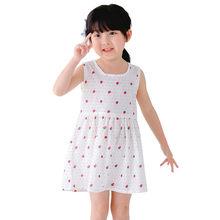 2018 Cô Gái Mới Quần Áo Mùa Hè Cô Gái Ăn Mặc Trẻ Em Trẻ Em Berry Dress Trở Lại V Ăn Mặc Cô Gái Trẻ Em Bông Vest ăn mặc Trẻ Em quần áo(China)