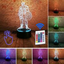 Luz-up vingadores homem de ferro modelo 3d ilusão led dormir nightlight luz colorida spiderman marvel thonas figura brinquedos(China)