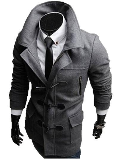 Mens Pea Coat With Hood Photo Album - Reikian