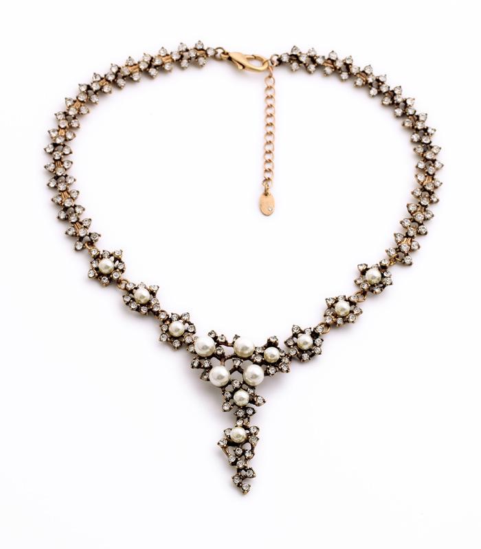 Unique Products from China Antique Gold Crystals Pearls Statement Necklace N2253(China (Mainland))