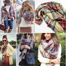 Women Girl Blanket Oversized Tartan Scarf Wrap Shawl Plaid Cozy Checked Beige