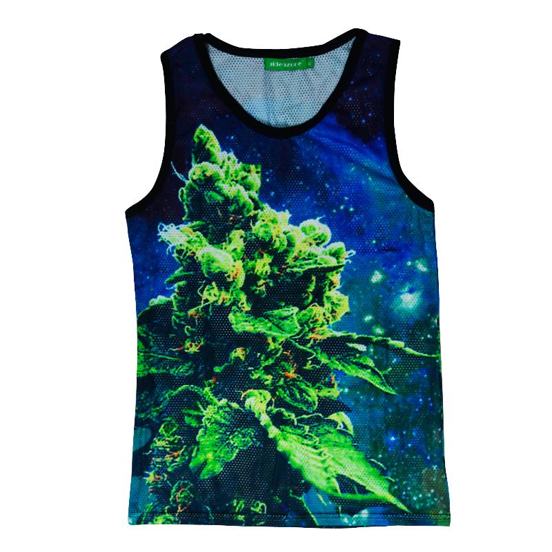 2015 summer Hot man women vest coral weed print 3D tank tops high street hip hop outdoors green tops t shirt Free shipping(China (Mainland))