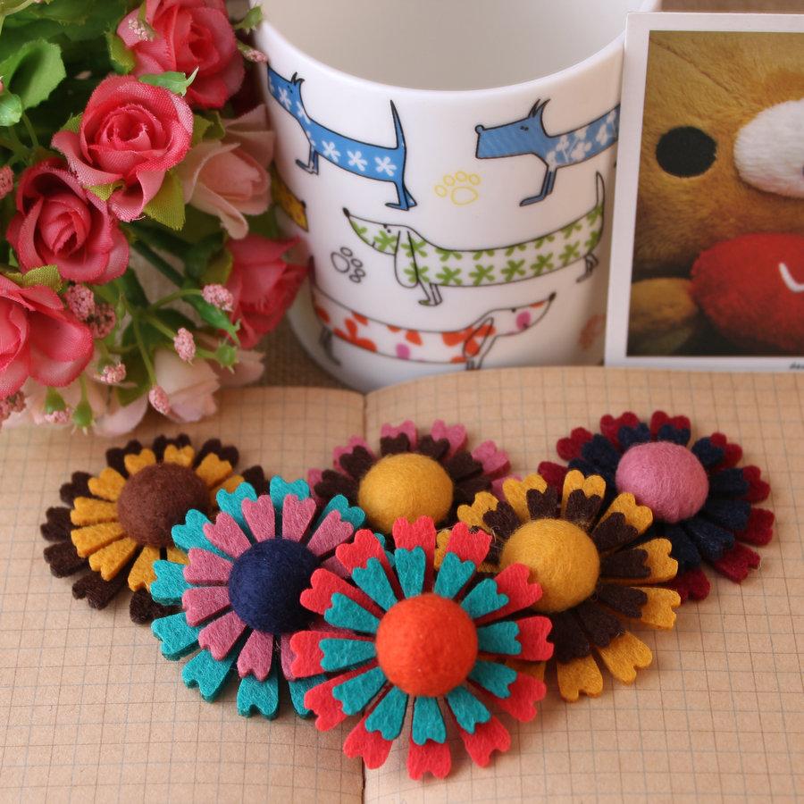 50pcs/lot mix colors 42mm flatback wool felt sunflowers.Free shippind DIY handmade non woven fabric baby girls headband patches.Одежда и ак�е��уары<br><br><br>Aliexpress