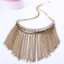 New Arrival Vintage Jewlery Metal Chain Crystal Tassels Necklace Short Sweater Chain XL5554