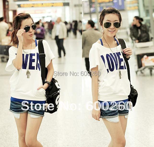 Korea Fashion Short Sleeve Off Shoulder Women's 2 Pcs Vest + T-Shirt Set(China (Mainland))