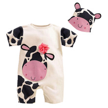 Fashion Cute Newborn Baby Rompers Cotton Short Sleeve Animal Infant Boys Girls Clothing Set with Hat for All Children Jumpsuits(China (Mainland))