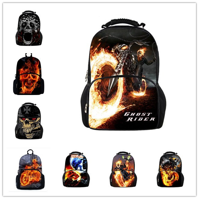 New Fashion Ghost Rider Backpack School Bags for Teenagers,Boys 3D Backpack Cool Skull Men's Backpacks,College Students Bagpack(China (Mainland))