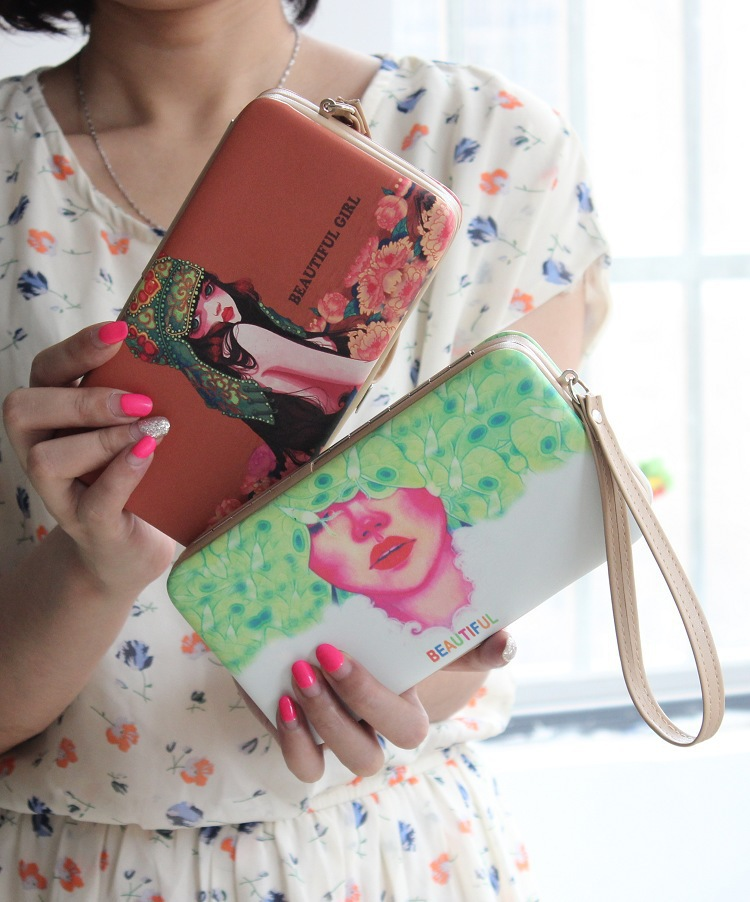 Free Ship Long characters Purse Women Wallets flowers characters 2015 girls wallet woman long deisng phone bag card holer WL5722(China (Mainland))