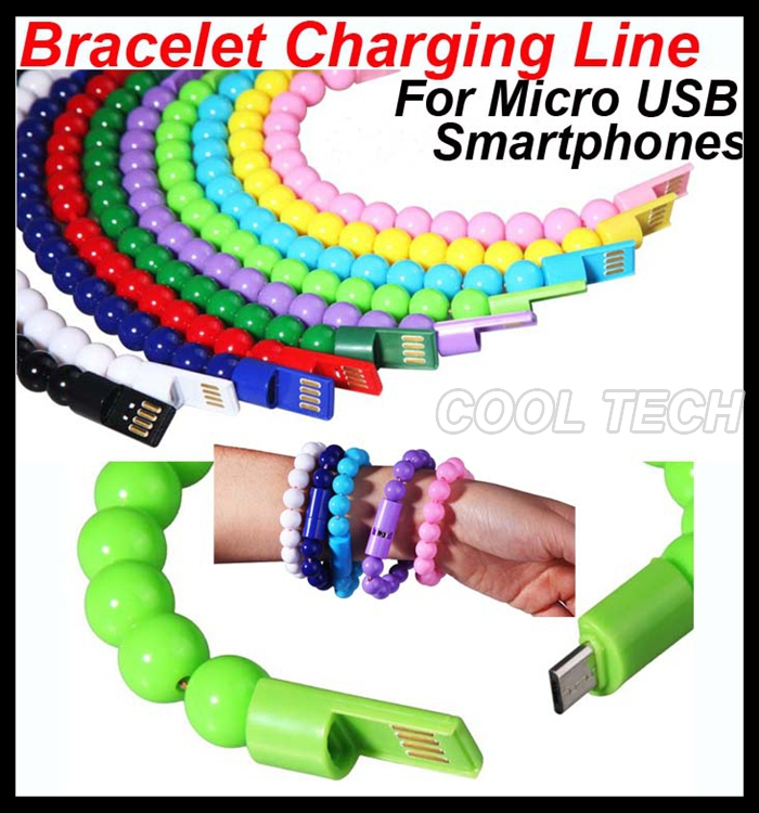 Stylish Bead Bracelet Design Charging Line Micro USB Tablets Charging Data Cable Cord for Samsung Note4 Note3 S6 Edge For HTC(China (Mainland))
